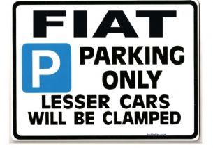 FIAT Car Parking Sign - Gift for BRAVO PUNTO COUPE models Size Large 205 x 270mm